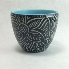 3 x and 8 oz. Ceramic Texture, Advanced Ceramics, Sgraffito, Hand Carved, Aqua, Porcelain, Carving, Pottery, Vase