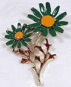 Vintage Flower Brooch Pin Signed Gerrys Green Yellow Enamel Daisy Gold metal 2 1/4 VG via Etsy