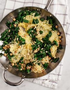 Spaghetti Squash with Chickpeas and Kale. exchange pine nuts for pepitas. Omit sun-dried tomatoes. Add extra garlic. Spices used: turmeric, cumin, pepper, and oregano. Add miso and soy sauce.