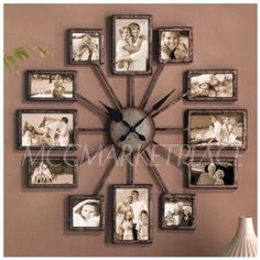 .com: Unique Large Wall Clock Photo Family Picture Frame Art Collage ...