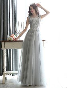 Formal Evening Dress Sheath/Column Bateau Floor-length Tulle – CAD $ 138.99