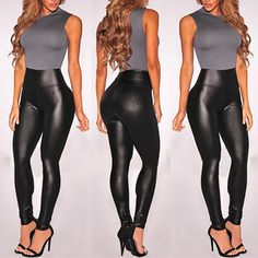 Women's High Waisted Faux Leather Leggings Stretch Pants Jeggings Slimming Pants