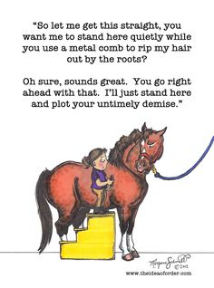 Reminds me of the time Jane asked me to pull Johnny ponies mane.... Never again!
