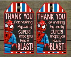 Lego Spiderman Digital thankyou - thank you card - tag Birthday Digital File; You Print - DIY - printable