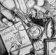 Contents of drawer done in pen, ap art