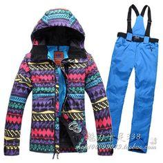 Outdoor ski suit female set single skiing clothing Women windproof waterproof thermal