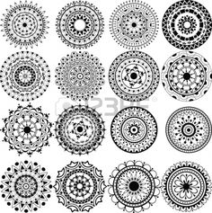 I've always been fascinated by mandalas. A set of beautiful mandalas and lace circles Stock Photo - 16281009