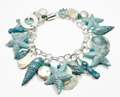 polymer clay Florida Starfish & Seahorse Shell Handmade Beads Chain Bracelet  with Freshwater Pearls  Makes a fabulous gift for any occasion!     The