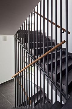 This is also true for that basement stairs. Balcony Railing Design, Home Stairs Design, Interior Stairs, Balcony Grill, Staircase Handrail, Balustrades, Steel Stairs, Staircase Makeover, Modern Stairs