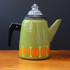 Vintage 1960s enamel coffee pot and percolator made in by Kultur, $64.00