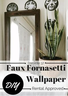 #30dayflip June project - DIY Knock off/Hack project! Check out this amazing Faux Fornasetti Wallpaper that you can create! This project is apartment friendly for all you renters out there!