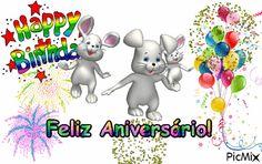 Mensagem de Aniversário infantil - de Páscoa Smurfs, Hero, Happy, Gifs, Fictional Characters, Happy Birthday For Kids, Happy Birthday Sms, Anniversary Message, Happy Birthday Pictures