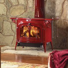 Newer wood stoves release fewer harmful emissions than older models. This wood stove (Vermont Castings Encore-NC) has an EPA emissions rating of 0.7 grams per hour.