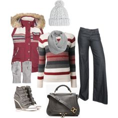 Winter Outfit, love everything besides the purse and jeans
