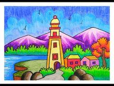 Oil Pastel Drawings Easy, Easy Drawings For Kids, Oil Pastel Art, Oil Pastels, Colorful Drawings, Love Birds Drawing, Nature Drawing, Bird Drawings, Beautiful Scenery Drawing