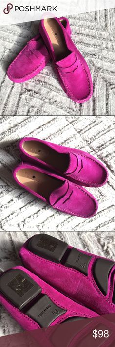 J Crew Kids' Purple Suede Penny Loafers Crafted in Italy, our suede penny loafers are designed with a tread pattern on the sturdy rubber sole, so kids can easily hop from the playground to a party. Size K13. New without Box.  Suede upper. Rubber sole. Made in Italy. J. Crew Shoes Dress Shoes