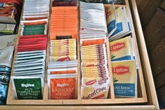 Use a silverware organizer as a tea bag organizer!