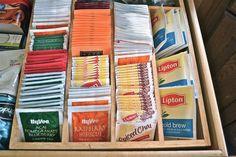 I love the idea to use a silverware organizer as a tea bag organizer! So much prettier