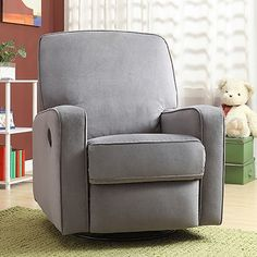 comfy nursery glider by Creations in solid gray.  Not too dark and will look great in any room later.
