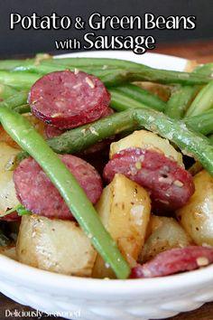 Potatoes and Green Beans with Sausage via @deliciouslyseasoned Sausage And Green Beans, Green Beans And Potatoes, Ranch Green Beans, Potato Recipes, Pork Recipes, Cooking Recipes, Kielbasa And Potatoes, Italian Potatoes, Pork