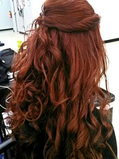 Wavy Updo Rich Red
