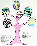 Children's Easter Crafts: Easter Egg Tree - more fun than an Easter coloring page. Sunday School Kids Activity