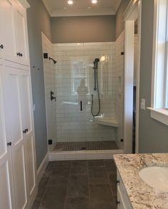 The glass was installed in the master shower today#fourgables #farmhouse #newconstruction #framelessshowerdoor