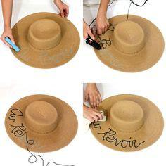 Swimwear & Beachwear for Women : stilettobeats: DIY Eugenia Kim Inspired Straw Hat Chapeau Cowboy, Cowboy Hats, Summer Diy, Summer Hats, Painted Hats, Hat Decoration, Diy Hat, Diy Straw Hat, Straw Hats