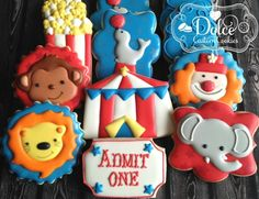Circus Carnival Animal First Birthday Birthday Cookies - 1 Dozen (12 Pcs) by Dolce Custom Cookies on Gourmly
