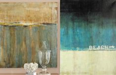 DIY glazed paintings like these from Ballard Designs. Starts with collaged layer of phone book squares on canvas. Paint basic color in acrylics; sand edges when dry; glaze with dark color as desired.