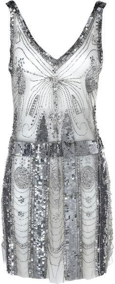 Balmain Metallic Dress in Silver (silver-grey) - Lyst