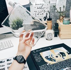 What a sharp water bottle.  Best Office Cubicle Decor Ideas | Domino