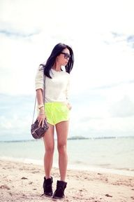 Acid yellow sport shorts