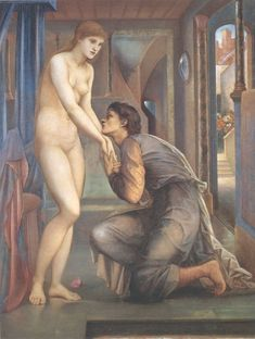 The enchanting story of Pygmalion and Galatea, about a sculptor who fell in love with his sculpture, re-imagined by the artist Sir Edward Burne-Jones.