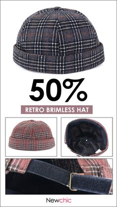 22524910da3 Mens Women Dome Grid Skullcap Sailor Cap Rolled Cuff Brimless Hat Woolen  Blend Beret Caps is hot sale on Newchic.