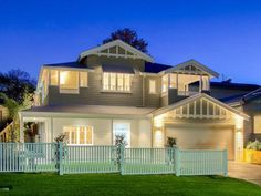 House frontage house with balcony, house front porch, front fence, hampto. House With Balcony, House Front Porch, Front Fence, Weatherboard House, Queenslander, Hamptons Style Homes, Hamptons House, Dream House Exterior, Exterior House Colors