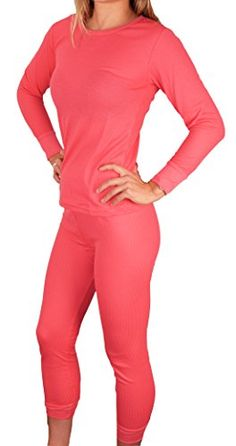 cool Peach Couture Women's Waffle Knit Comfort 100% Cotton Thermal Underwear 2 PC Set