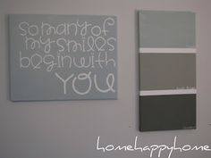 Stick vinyl letters onto a blank canvas, paint over and remove letters to reveal your words.