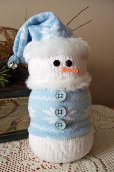 Sock Snowman Blue Snowflake. $10.00, via Etsy.