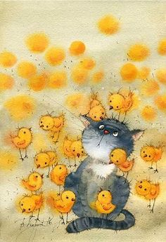 38-Симпатичные иллюстрации V.Kirdiy #CatIllustration