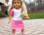 "pink outfit for american girl dolls or 18"" dolls: shrug, tank top, skirt"