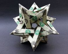Five Intersecting Tetrahedra Dollar Origami - Geometrical Shape Made of Money Origami Letters, Origami Star Box, Origami Fish, Origami Stars, Origami Boxes, Origami Butterfly, Origami Flowers, Monarch Butterfly, Dollar Bill Origami