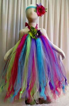 Fun Colorful Long Halter Style Tutu Dress and by cd1ofakind, $40.00