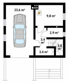 Dom, House Plans, Garage, Floor Plans, How To Plan, Home Decor, Houses, Home Plans, Architecture