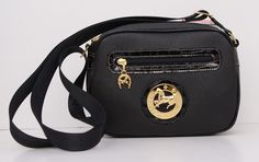 Cavalinho Black Leather Shoulder Bag, Nylon Strap with Gold Metal Accent. www.exclusivelyequine.ca