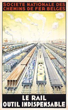 VINTAGE ORIGINAL 1930s BELGIAN RAILROAD TRAVEL POSTER RAILWAY | eBay