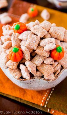 Yummy Pumpkin Spice Puppy Chow at sallysbakingaddiction.com. Be warned, this sugary stuff is dangerously good!