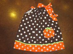 infant/toddler girls Fall pumpkin pillowcase dress. $30.00, via Etsy.