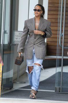 Celebrity Street Style of the Week: Vanessa Hudgens, Rihanna, & Nina Dobrev. Get Vanessa Hudgens's wrap dress, Rihanna's menswear-inspired blazer, and Nina Dobrev's red printed OTS dress, all for less.