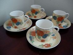 ART DECO BOOTHS SILICON CHINA FLORAL COFFEE CANS & SAUCERS